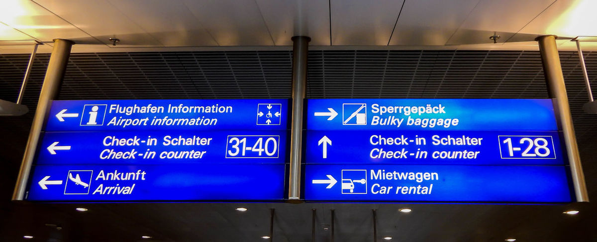 Airport Airport Departure Area Airport Runway Arrival Arrival Departure Board Blue Check-in Day Flughafen Indoors  Information Sign Low Angle View Schild Security Text Transportation Travel