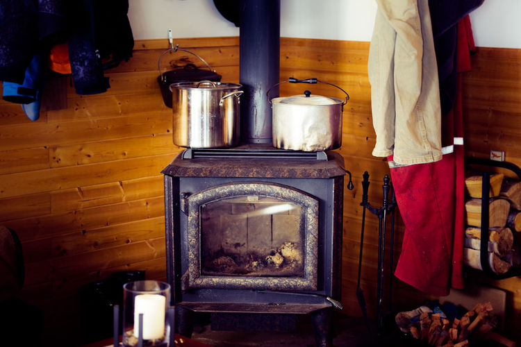 View of wood burning stove at home