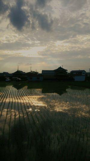 Reflection Tranquility Cloud - Sky Water Landscape No People Outdoors Rural Scene Sunset Sky Nature Japan This Week On EyeEm. TheWeekOnEyeEM Taking Photos Eyeemphotography Silhouette Cloud Sunset 風景 空 景色 反射