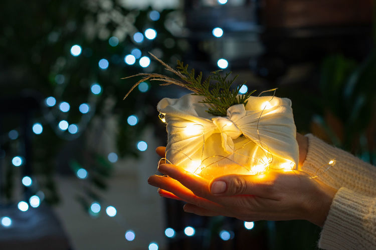 Close-up of hand holding illuminated flower