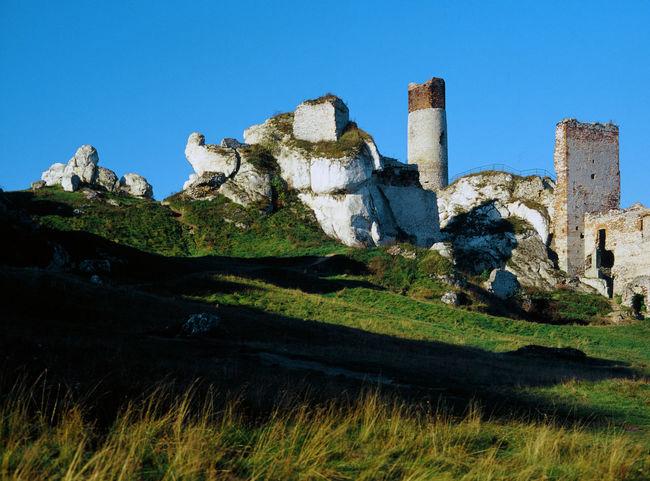 Castle Grass Jura Jura Krakowska Jura Krakowsko Czestochowska Jurrasic Olsztyn Rock Rock - Object Rock Formation Rocky Mountains Ruin Ruins