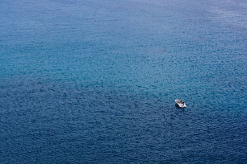 Infinity. Alone Blue Boat Cyprus Leisure Mediterranean Sea Minimalism Nature One Sea Seascape Summer Travel Water Seascape Photography From Above  Infinity