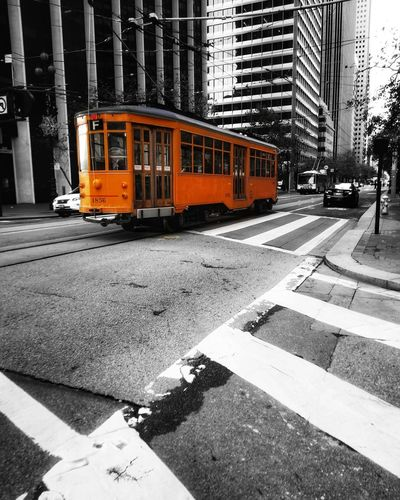 Transportation Mode Of Transport Land Vehicle Public Transportation City Day Outdoors Built Structure Architecture No People Trolley Rail Railcar Desaturated Cityscape ChannelBMedia San Francisco Transportation Public Transportation Railroad Track