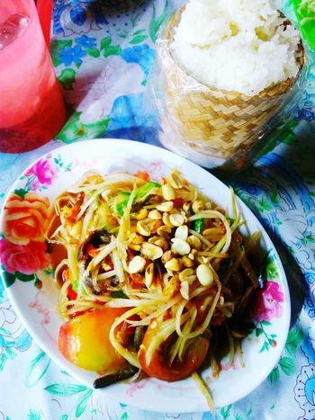Somtum with sticky rice Somtum Pu-plarha Food And Drink Sticky Rice Esan Food Delicious Yummy Freshness Food Ready-to-eat Close-up High Angle View No People Meal Serving Size Spicy Thai Food Spicy Salad Papaya Salad Thailand Freshness Mobile Photography