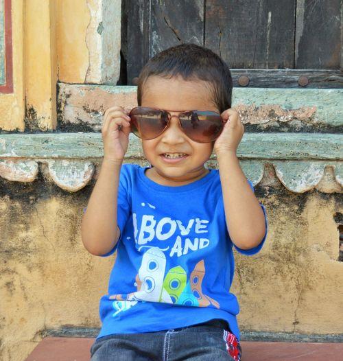 Portrait of boy wearing sunglasses