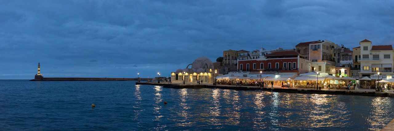 Chania old town harbor Architecture Built Structure Building Exterior Water Sky Cloud - Sky Waterfront Outdoors Travel Destinations No People Illuminated City