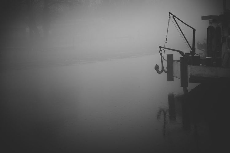Copy Space Dark Low Key Winter Anchor Black And White Boat Fog Lake Monochrome Nature Night No People Outdoors Scenics Ship Tranquil Scene Tranquility Water Waterfront