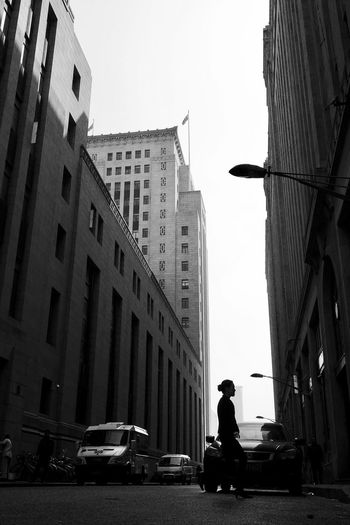 The bund in the morning Building Black And White Morning Shanghai Morning Silhouette Lady Street Photography Street Snapshoot City Life The Street Photographer - 2017 EyeEm Awards Be. Ready. Black And White Friday Stories From The City