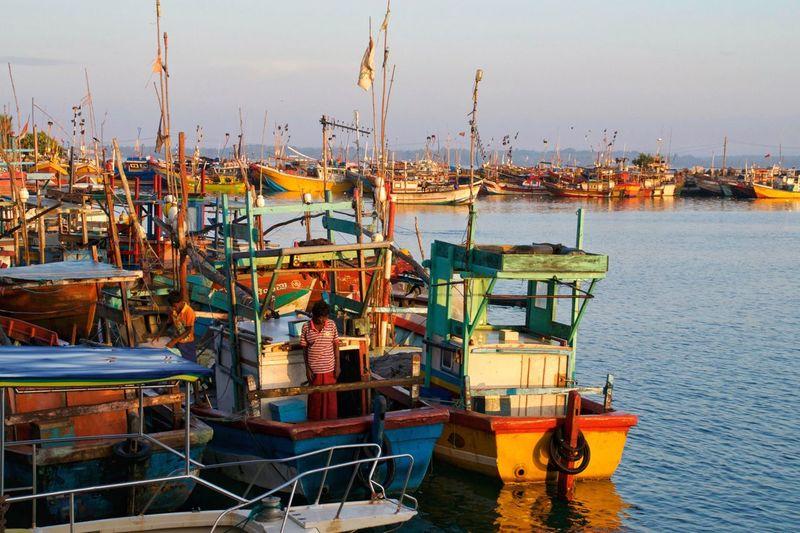 Port of Mirissa, Sri Lanka aprile 2016 Sri Lanka Mirissa Port Harbor Boat Sea Ocean Colors Nautical Vessel