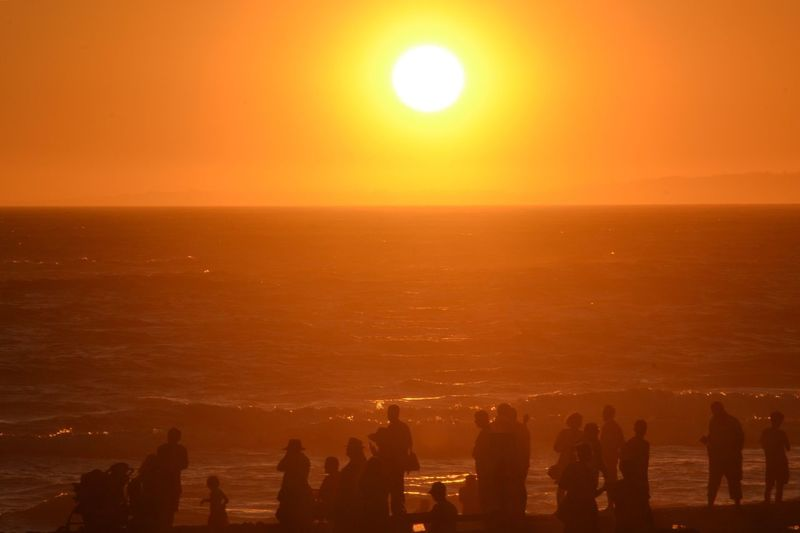 People Enjoying At Beach Against Clear Sky During Sunset