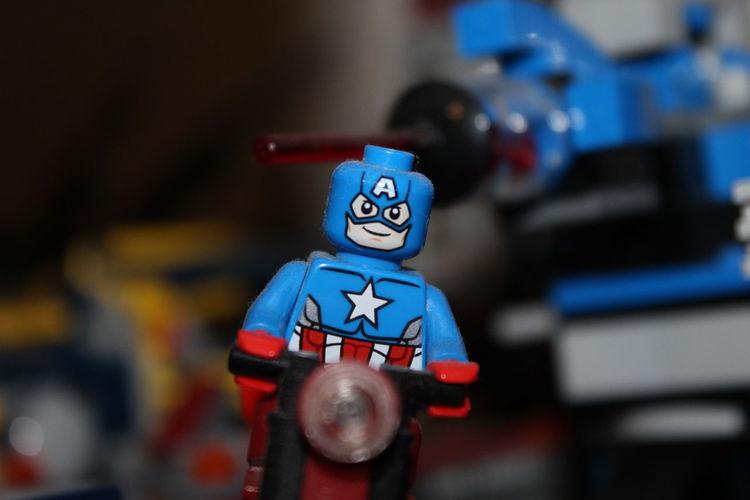 LEGO Art And Craft Capitan America Close-up Figurine  Focus On Foreground Human Representation Lego Marvel Legominifigures Legophotography Male Likeness No People