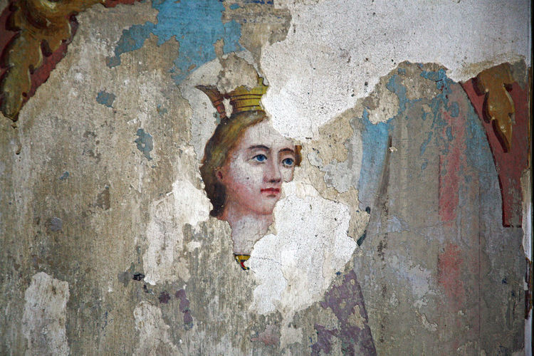 Slavonia,details,St.Catherine,old church painting,Croatia,Europe,1 Ancient ArtWork Catholicism Christianity Church Close-up Colour Craftmanship Croatia Details Eu Europe Fresca Human Face Old One Woman Only Paint Painting Portrait Religion Saint Slavonia St.catherine Wall