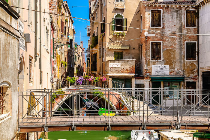 Views of Venice. Architecture Bridge Building Exterior Built Structure Busy Canal City Colorful Day Facades Flowers Narrow No People Old Outdoors Residential Building Street Sunny Urban Venezia Venice Water Window