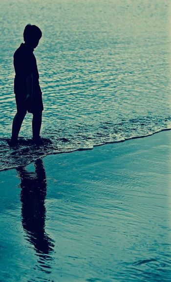 Beach Beauty In Nature Child Full Length Light And Shadow Nature One Person Sea Standing Water