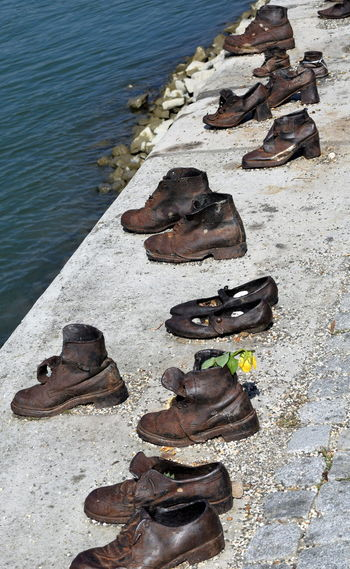 Art Budapest Hungary Memorial Moving River Riverbank Riverbank, Danube Riverside Sculpture Shoes Shoes On The Danube Bank