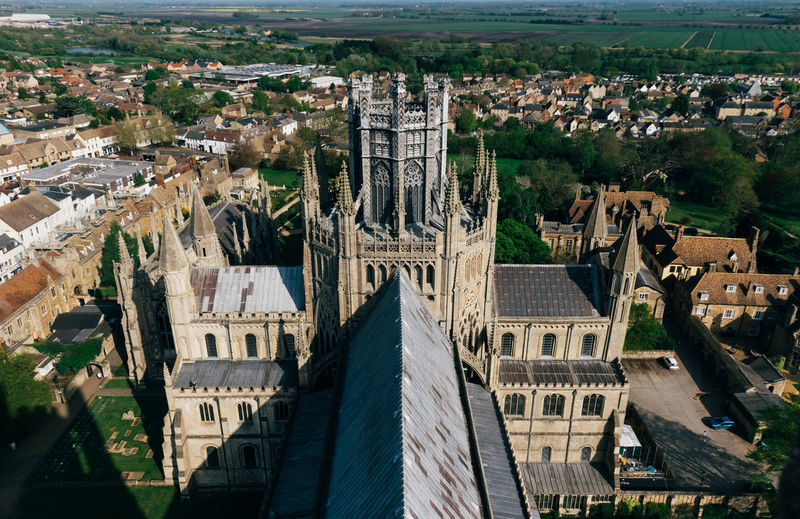 High angle view of ely cathedral in city