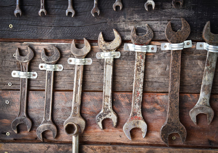 Full frame shot of hand tools hanging on wooden wall