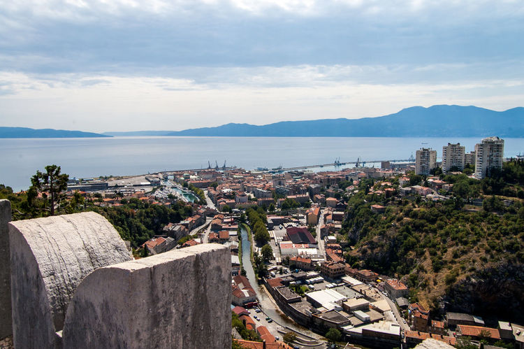 Rijeka with Rječina and Harbour from Trsat. Architecture Calm Cityscapes Kvarner No People Outdoors River Sea Seascape Sky Town TOWNSCAPE Water Rijeka Trsat Panorama Panoramic View Coast Sea Mediterranean  Adriatic Adriatic Sea Riviera Summer
