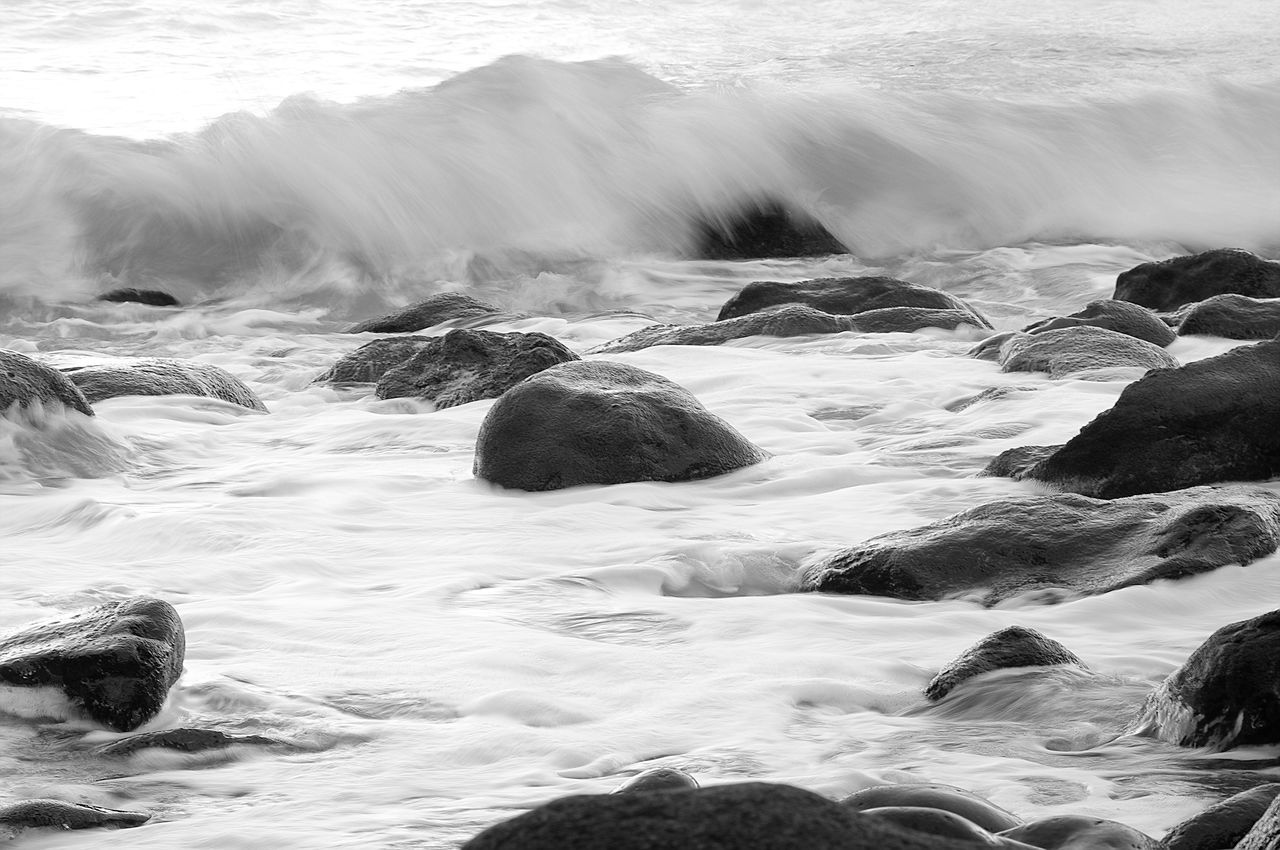 water, motion, sea, rock, solid, rock - object, beauty in nature, long exposure, scenics - nature, aquatic sport, no people, nature, land, wave, sport, blurred motion, flowing water, day, outdoors, flowing, pebble, power in nature