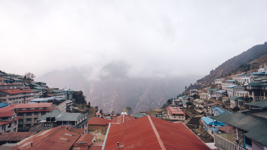 High angle view of townscape during foggy weather