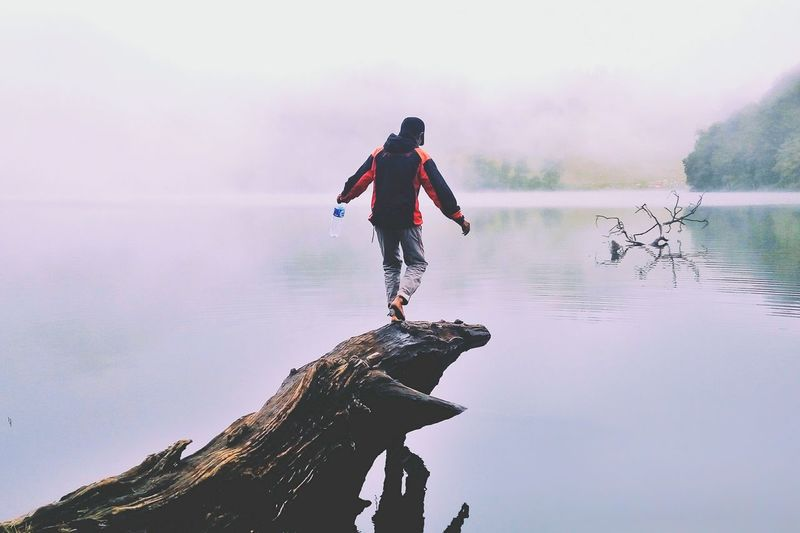 Fog in Ranu Kumbolo. Reflection Water Lake Full Length People One Person Outdoors Adult Silhouette Day Young Adult Adults Only Men Only Men Nature One Man Only Sky Cloud - Sky Landscape Fog Nature Adventure Reflection Ranukumbolo Ranukumbolo2400mdpl