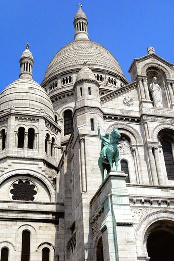 Cathedral Catholic Christianity France Paris Sacred Heart Sacré Coeur, Paris Architecture Building Exterior Built Structure Catholic Church City Clear Sky Day Dome Human Representation Low Angle View No People Outdoors Sacre Couer Sacre Couer De Montmartre Sculpture Sky Statue Travel Destinations