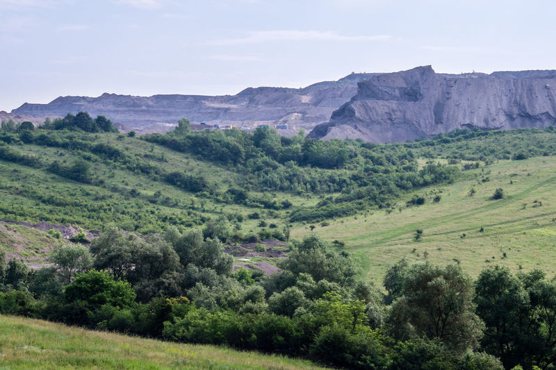 Slag heap Pollution Man-made Slag Heap Mound Slag Rural Scene Hill Sky Landscape Green Color Valley Plateau