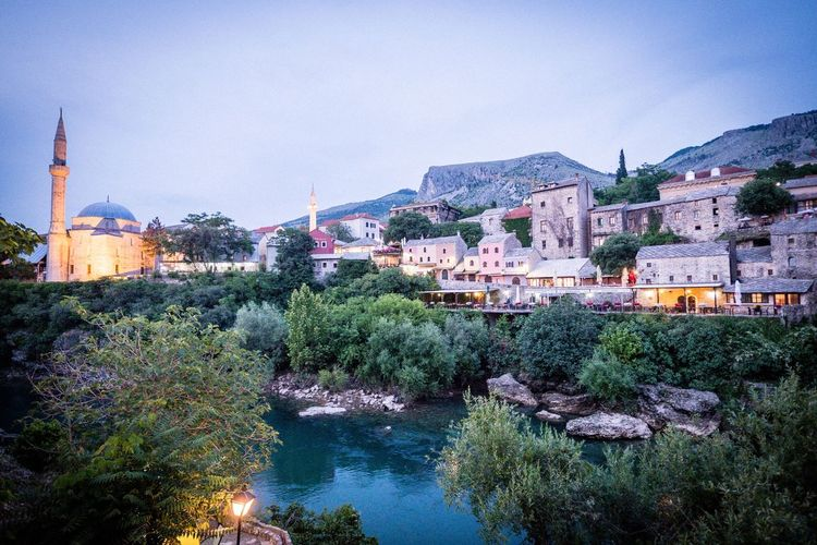 Mostar Mostar Stari Most Architecture Building Exterior Built Structure Sky City Nature Plant Water Town Travel Destinations