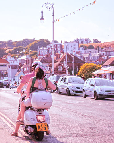 Those romantic summer days Summer Motorcycle Vespa Couple Love Pink Ambient Vintage Pastel Travelblogger Travelling Travel Photography Streetphotography City Cityscape Car Young Women Sky Architecture