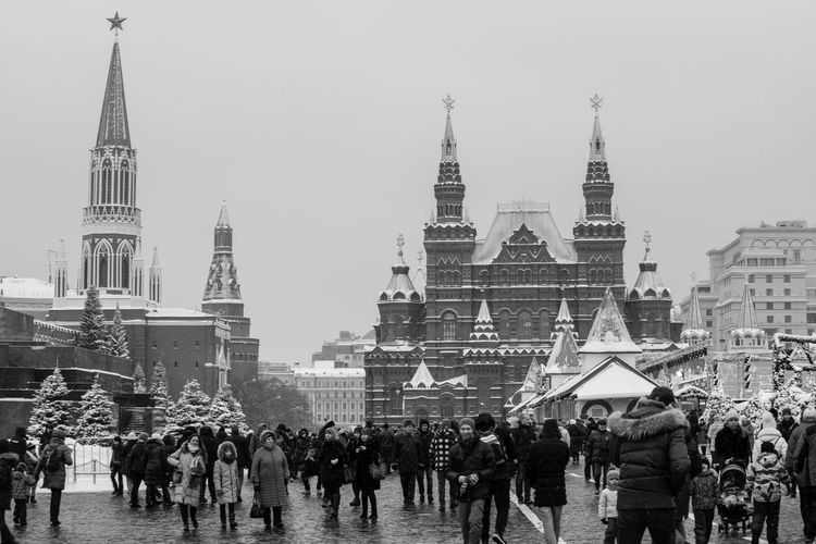 Architecture Crowd Building Exterior Built Structure Group Of People Large Group Of People Real People Men City Building Women Adult Sky Nature Tower Lifestyles Religion Day Street Outdoors Spire  Red Square Moscow Russia