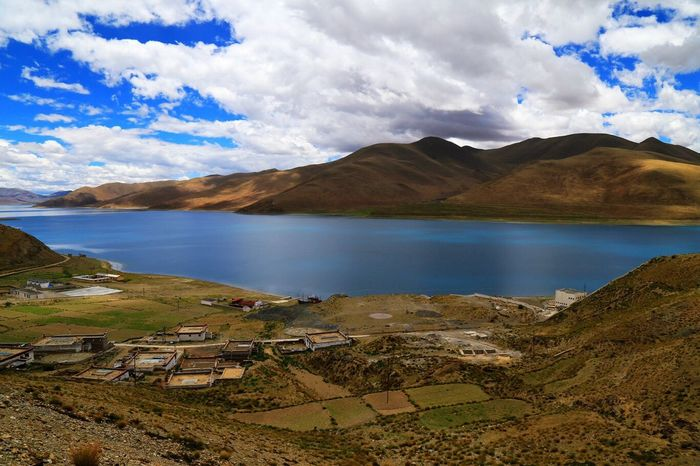 Lake called 羊卓雍错 in Tibet Lake View Outdoors No People Tibet Moutains Plateu High Angle View Highlands Landscape
