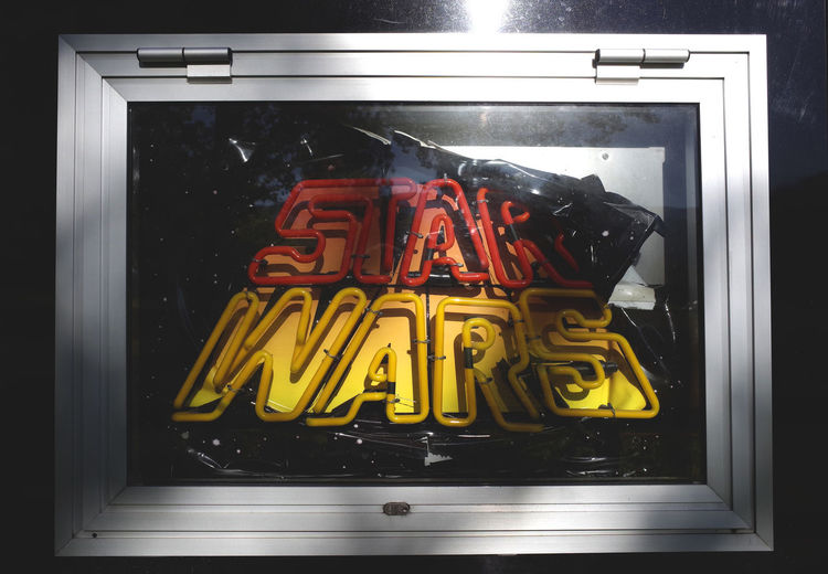 star wars Creativity Dramatic Angles Frame Glass - Material Green Color Letters Memories Multi Colored Neon Neon Lights Reflection Sign Star Wars TakeoverContrast Text Urban Landscape Window Writing