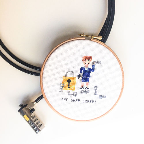 Crafts Funny GDPR Law Modern Office Security Business Cable Communication Cross Stitch Embroidery Female Feminism Flatlay Gdpr Compliance Information Lock Number Lock On My Desk Privacy Privacy Officer Privacy Policy Privacy Shield Technology