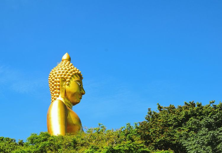buddha with blue sky Copy Space Natural Object Statue Background Outdoors View BIG Tree Statue Sculpture Blue Clear Sky Religion Spirituality Human Representation Sky Buddha Idol Buddhism Golden Color Temple