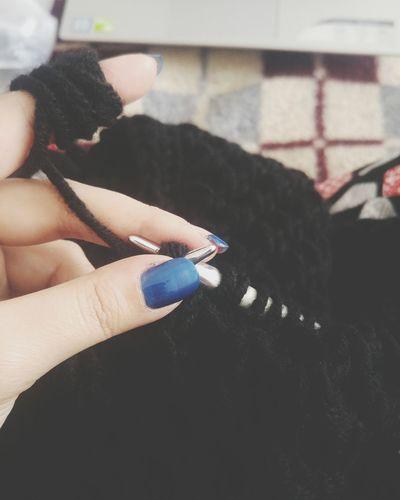 Winter season Nail Design Hobi Hobie Mavi Siyah Knitting Kış Cold Home Warm Hand Handmade DIY Black Orgu Girl Blue