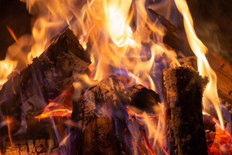 Close-up of bonfire at night