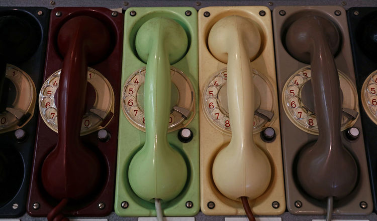 Old vintage telephones Antique Choice Close-up Colorful Connection Dial Equipment Handset History In A Row LINE Museum No People Old Phone Retro Technology Telecommunications Equipment Telephone Telephone Line Telephone Photography Variation Vintage