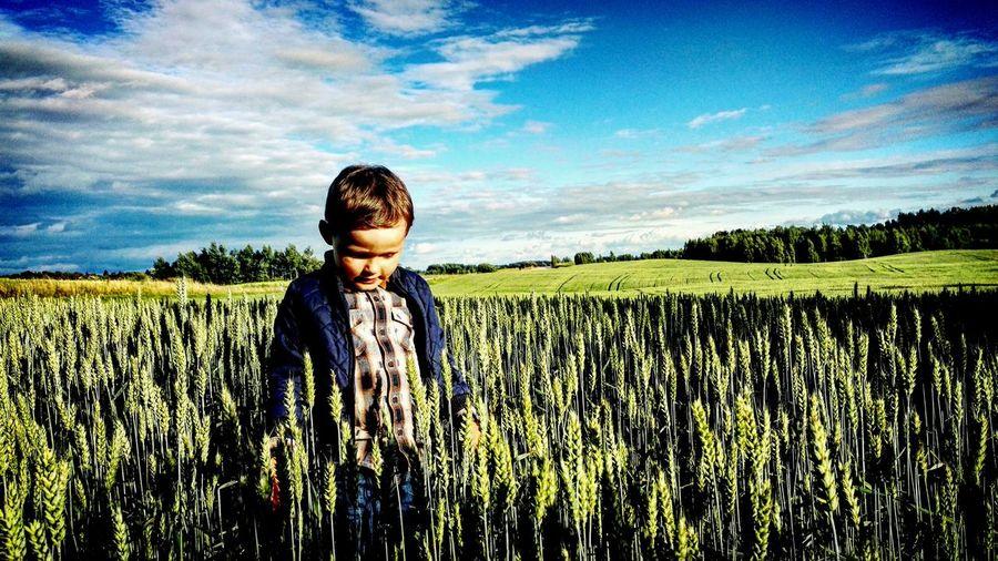 Boy walking in wheat field against sky