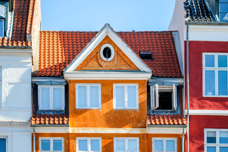 Copenhagen Architecture Built Structure Building Exterior Window Building House Residential District Roof Day No People City Blue Nature Sunlight Sky Outdoors Clear Sky Façade Town Roof Tile Row House Copenhagen Denmark