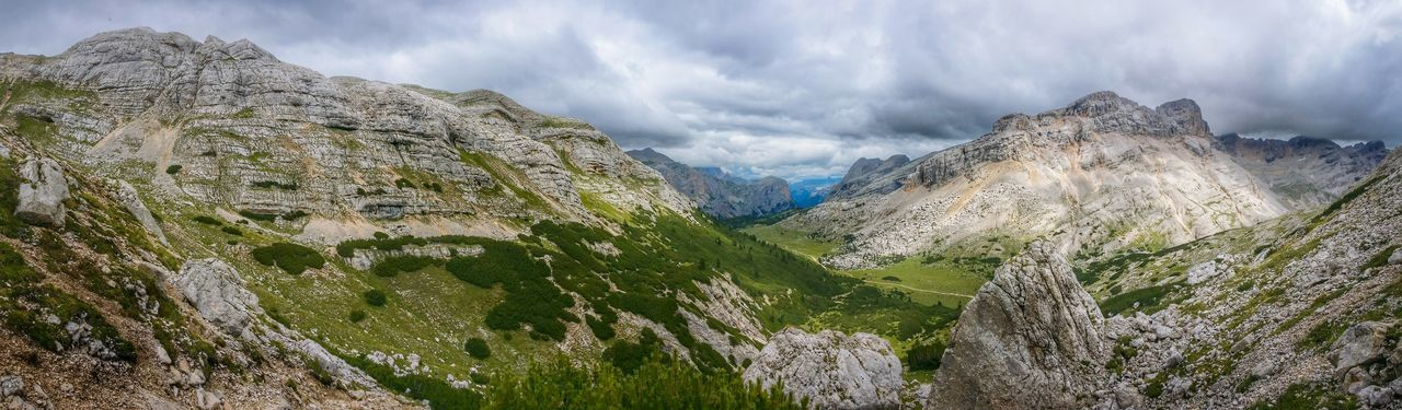 Panoramic view of mountain range at fanes-sennes-prags nature park