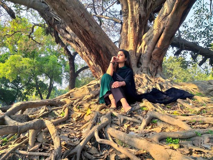 Young couple sitting on tree trunk in forest