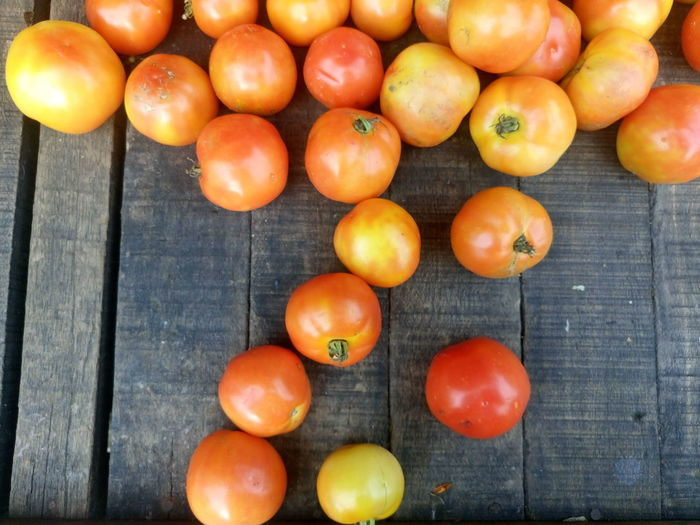 Directly above shot of tomatoes for sale at market stall