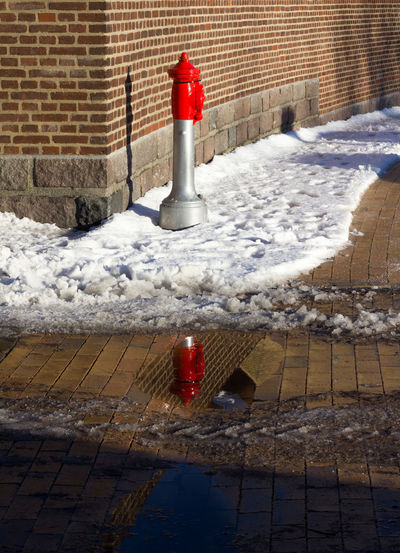 Day Empty Hydrant Outdoors Reflection Sidewalk Snow The Way Forward Wather Winter