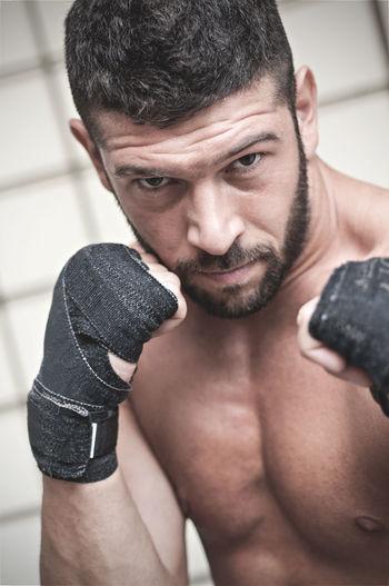 Close-up of shirtless boxer