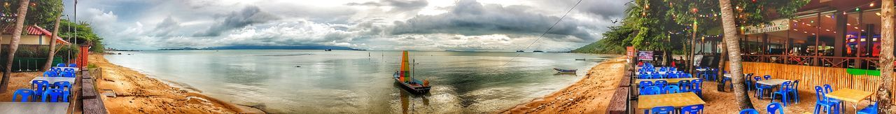 Water Day Outdoors Sea Panoramic Beach Multi Colored Spraying No People Nature Tree Sky Thailand Tranquility Nautical Vessel Nature Cloud - Sky Sun Sunset Sunshine