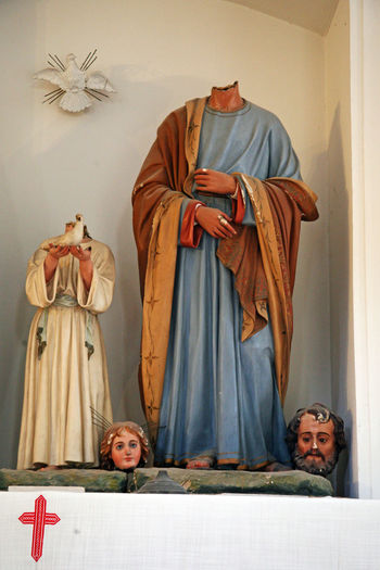 Figures of Holy Family ravaged 1992.by invaders,Cilipi,Croatia,Europe,1 1992. Catholicism Christianity Cilipi Craftmanship Croatia Culture Demolition Devastation Eu Europe Figures History Holy Family Invaders Ocupation Ravaged Religion Shame War