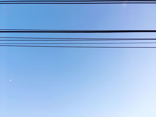 Cable Low Angle View Power Line  Power Supply Connection Electricity  Blue No People Technology Clear Sky Electricity Pylon Outdoors Day Parallel Telephone Line Sky Nature Close-up