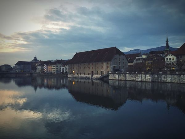 Solothurn in winter Switzerland Winter Bridge Aare Solothurn Cold