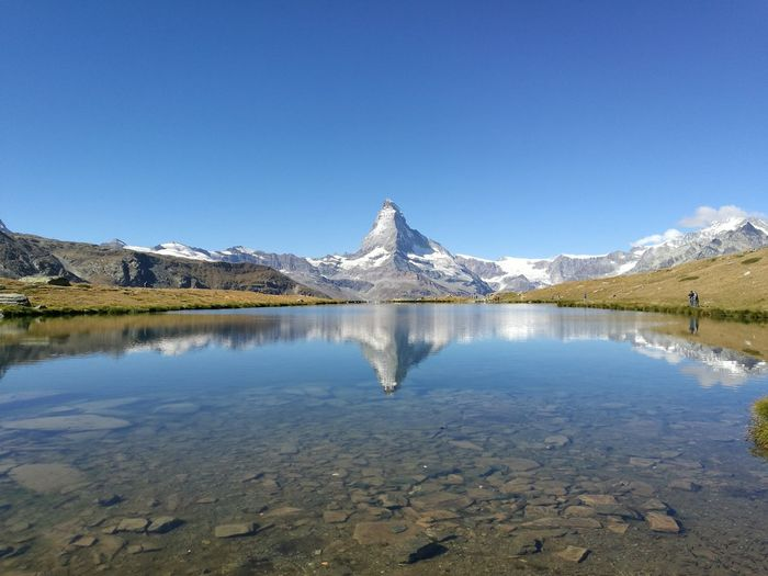Matterhorn  Zermatt Switzerland Landscape Stellisee Mirror Reflection Travel Mountain Blue Sky Clear Water Hiking Nature People And Places Neighborhood Map The Great Outdoors - 2017 EyeEm Awards Breathing Space Lost In The Landscape