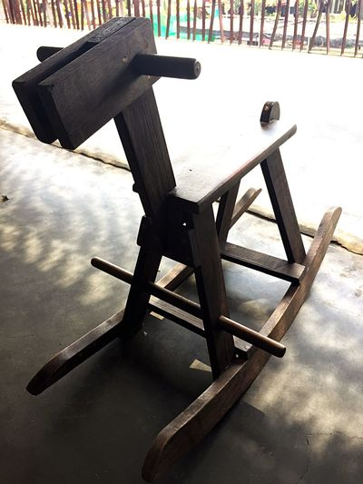Chair No People Day Table Indoors  Nature Nostalgia Horse Cart Child Play Wooden Horse Wooden Fun